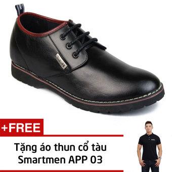 Giày Nam Công Sở Tăng Chiều Cao Smartmen Gd1-05 (Đen) + Tặng Áo Thun Nam