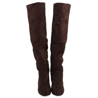 Retro Pure Color Round Toe Ladies Suede Knee Boots(Brown) - intl