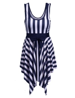 Cyber New Fashion Stylish Sailor Women One-Piece Bathing Suit Swimwear Cover up Swimdress Swimsuit With Pad ( Blue ) - intl