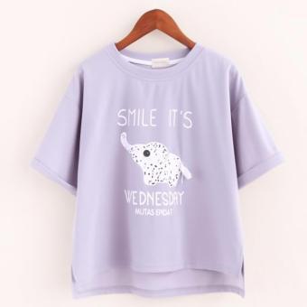 Áo thun nữ tay ngắn hình voi con Smile It's Wednesday LTTA145 (Tím)