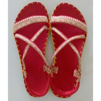 Sandal thổ cẩm nữ quai ngang (Đỏ) TFW8532 #35