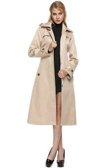 Cyber ANGVNS Women Outwear Hooded Turndown Collar Single Breasted Belted Windbreaker Trench Long Jacket Coat (Khaki) - Intl