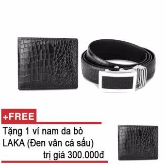 Bộ ví và thắt lưng nam da bò thật LAKA đen cá sấu + Tặng 01 ví nam da bò LAKA (Đen vân cá sâu) trị giá 300.000đ