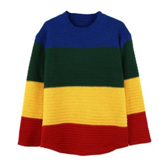 Women Knitted Sweater Contrast Block Rainbow Color O Neck Long Sleeve Loose Slouchy Pullover Tops - Intl