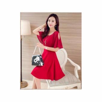 Đầm Xòe Tay Cánh Tiên Khoét Vai (Đỏ)