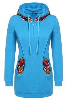 Cyber Finejo Women Fashion Casual Hooded Zipper Long Sleeve Patchwork Pullover Hoodie ( Blue ) - Intl