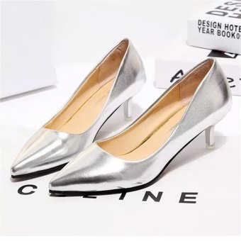 Women Pointed Toe Pump Middle Heel Shoes (Silver) - intl