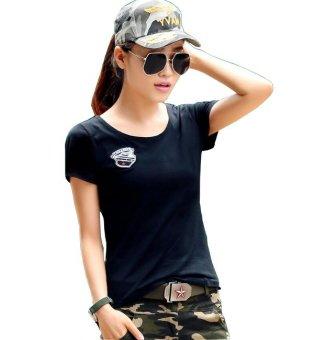 Áo lính nữ cổ tròn Đen - AN5D