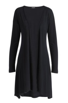 Sunweb ACEVOG Lady Women Casual Open Neck Long Sleeve Asymmetric Hem Loose Cardigan Coat ( Rose red ) - intl
