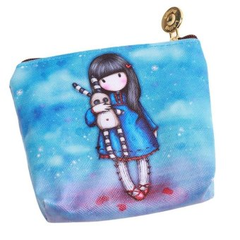 LALANG Mini Cute Cartoon Girl Canvas Coin Purse Key Wallet Storage Bag 1# - intl