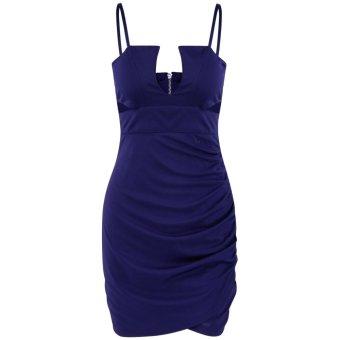 Sexy Women Deep V Neck Bodycon Dress Club Cocktail Party Dresses Spaghetti Strap Backless Zipper Sexy Dress - intl
