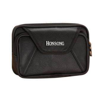 New Men PU Leather Zipper Card Coin Phone Holder Wallet (Black) - intl