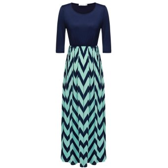 Linemart ANGVNS Women Fashion 3/4 Sleeve Casual Contrast Color Striped Maxi Dress ( Dark Blue ) - intl