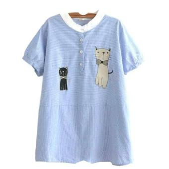 Áo sơ mi nữ sọc xanh trắng hình mèo LTTA22