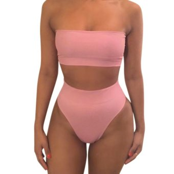 Women Bandage Bikini Set Push-up Swimsuit Bathing Swimwear Suit Pink - intl