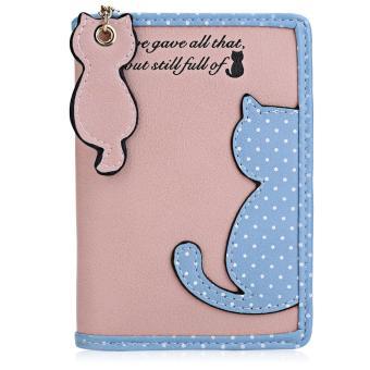 Cat Wave Point Color Block Snap Fastener Zipper Short Wallet - intl