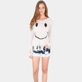 Long Sleeve Print Hole Knitted Loose Sweater(White) - intl