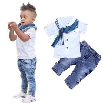 1Set Kids Baby Boys Short Sleeve T-Shirt Tops+Scarf+Trousers Clothes Outfits - intl