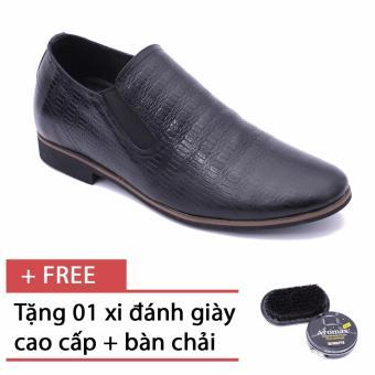 Giày da công sở tăng chiều cao Smartmen SM-01 (Đen), tặng kèm 1 bàn chải và xi đánh giày cao cấp