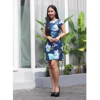Đầm họa tiết hoa xanh Cocoxi 17DT59HVX
