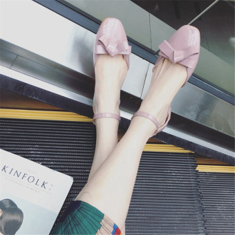 Low Heel Patent Leather Shoes Bowtie Candy Color Pumps(Pink) - intl