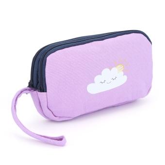Print Cartoon Canvas Buggy Bag Coin Purse Cell Phone Holder Wrist Wallet(Light Purple) - intl