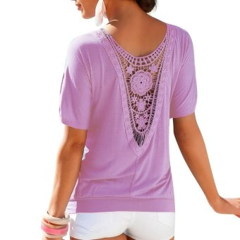 Sunweb Fashion Summer Women O-neck Short Sleeve Lace Floral Loose Top Blouse Casual T-Shirt ( purple ) - intl