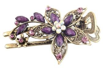 niceEshop Charm Flower Crystal Rhinestone Hair Pins,Antique Bronze and Purple - intl