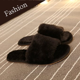 Women Home Indoor Open Toe Soft Shoes Mule Slipper Fur Winter Warm Flats Plush Black - intl