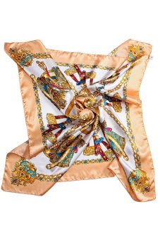 Bluelans Square Women Imitated Silk Satin Carriage Chain Neck Head Scarf Shawl Yellow (Intl)