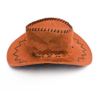 Fur Unisex Men Women Cowboy Cap Felt Material Western Sun Visor Knight Hat with Chin Cord Orange (Intl)