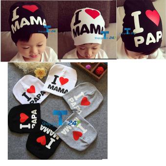 Bộ 02 mũ cotton I love Mama (Xám +đen)
