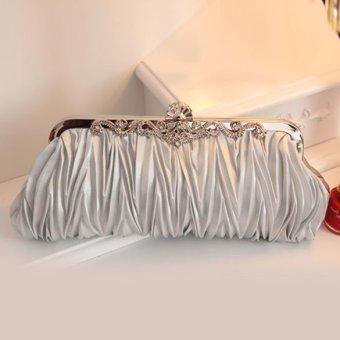 Crystal Satin Evening Bag Silver (Intl)