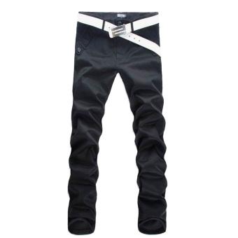 Men Slim Pencil Pants Black (Intl)