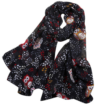 Women Lady Spring Fall Winter Beach Voile Cartoon Owl Pattern Neck Warmer Scarf Wraps Black - intl