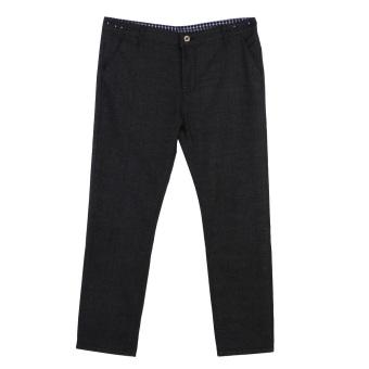 Men's Casual Pants Pants Skinny Slim Cotton Trousers (Black)29 - intl
