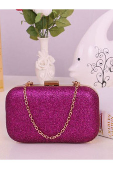 Evening Party Glitter Chain Hand Bags Clutch Box (Hot Pink)
