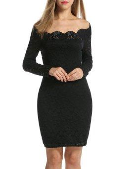 Linemart Women Ladies Off-shoulder Pencil Dress Long Sleeve Floral Package Hip Mini Dress ( Black ) - intl