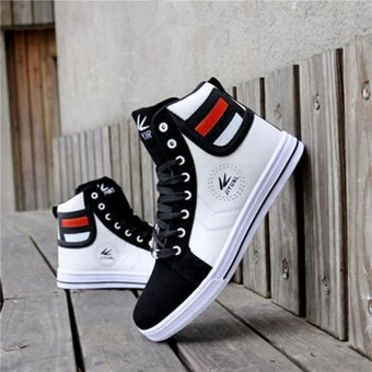 LALANG Fashion Men Casual High Top Sport Sneakers Athletic Running Shoes Lace Up Ankle Boots (White) - intl
