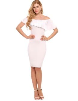 Cyber Women Sleeveless Off-shoulder Ruffles Package Hip Pencil Dress Knee Party ( White ) - intl