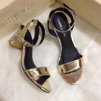 Sandal gót nạm đá (vàng)