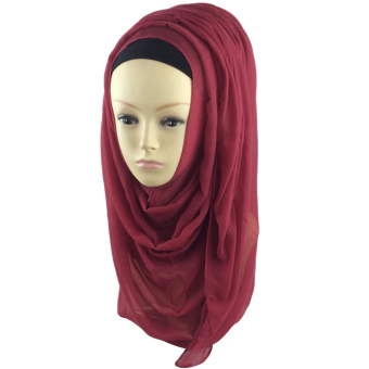 Women Muslim Voile Soft Head Neck Wrap Cover Hat Long Shawl Hijab Scarf Wine Red (Intl)