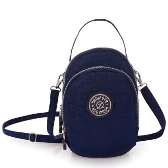 Waterproof Nylon Handbag Shoulder Diagonal Bag Messenger Bag Deep Blue (Intl)