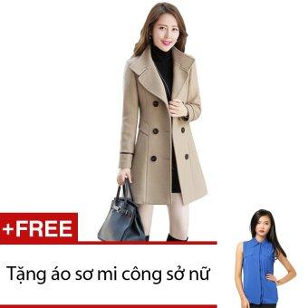 Áo khoác dạ Zahra (Kem) + Tặng 1 áo sơ mi công sở nữ