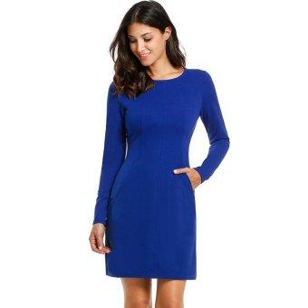 Linemart Women Casual Long Sleeve O-Neck Solid Zipper Closure Dress ( Blue ) - intl