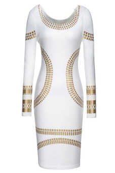 Women  Printed Pencil Skirt Long Sleeve Scoop Neck Dress L (White) (Intl)