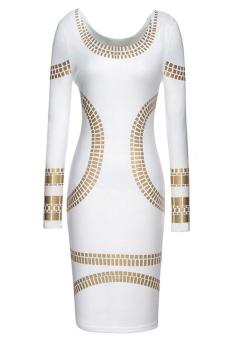 Women Printed Pencil Skirt Long Sleeve Scoop Neck Dress L (White) (Intl)