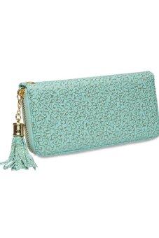 Tassels Embossing Women's Wallet Light Green - Intl