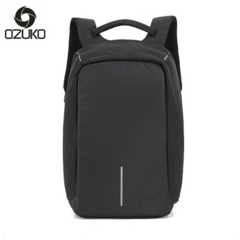 OZUKO 14 Inch Laptop Backpack External Usb Charge Backpack Waterproof Oxford Business Bags for Women Men Travel Bags School Bags (Black) - intl