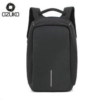 OZUKO 14 Inch Laptop Backpack External Usb Charge Backpack Waterproof Oxford Business Bags for Women Men Travel Bags School Bags (Black) - intl